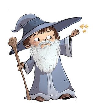 niño con disfraz de mago