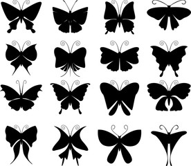Silhouettes icon of butterflies vector design