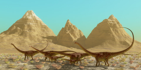 Diplodocus Dinosaur Herd - A herd of Diplodocus dinosaurs cross a desert on their annual migration to a warmer region.