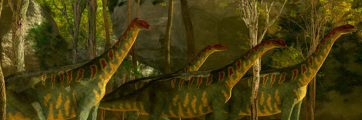 Jobaria Dinosaurs in Forest -A herd of Jobaria dinosaurs pass through a heavily wooded forest on a Jurassic prehistoric day.