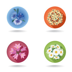 Flower icon. Flower posy web button. Floral bouquet.