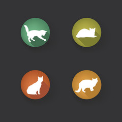 Cat icon set. Collection of vector pets icon silhouette.