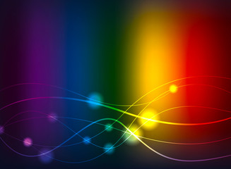 Rainbow background with waves