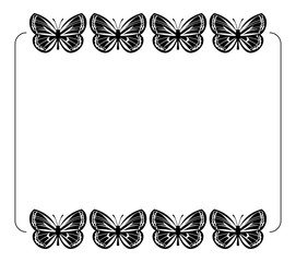 Silhouette frame with butterflies