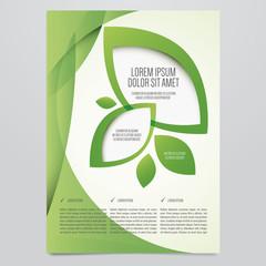 Vector Eco flyer, poster, brochure, magazine cover template. Modern green leaf, environment design.