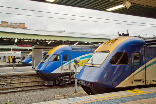 XPT trains in Central Station, Sydney.