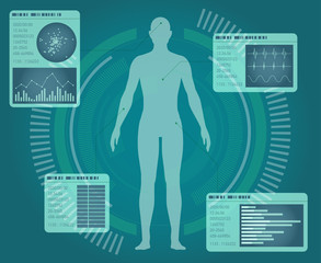 human body and info graphics, abstract interface, vector illustration