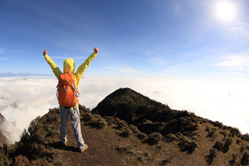 cheering young woman backpacker open arms to beautiful landscape on mountain peak