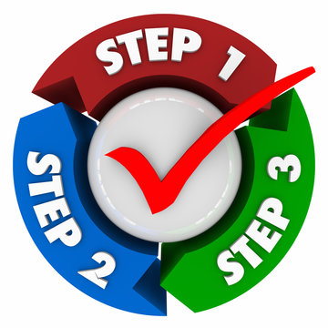 Three Steps 1 2 3 Process Instructions Directions Check Mark