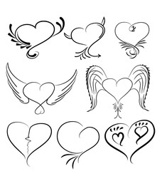 Hand drawn hearts black and white vector design element