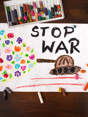 "colorful drawing with the words ""stop war"""
