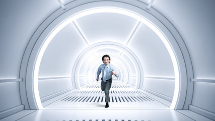 Man run in virtual room