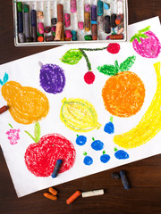 Color drawing: miscellaneous types of fruits