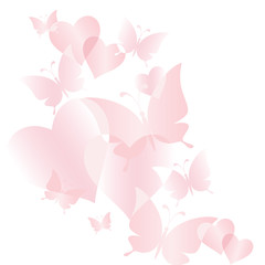 Beautiful gentle background with pink butterflies and hearts