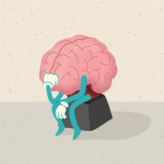 retro cartoon of a thinking brain character