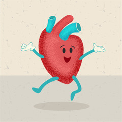 retro cartoon of a healthy happy heart character