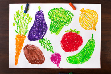 Color drawing: miscellaneous types of vegetables