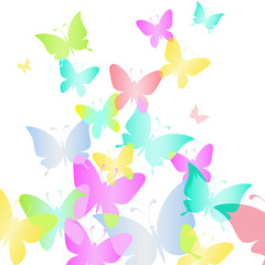 Abstract rainbow Background with butterflies. Vector illustratio
