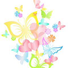 Vector illustration of bright  rainbow  butterflies and hearts.