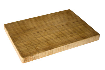 Old bamboo cutting board isolated on white background