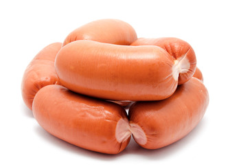 Sausages isolated on a white