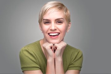 Cute fun bubbly adorable personality modern young fresh pixie haircut perfect teeth smile