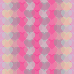 Seamless vector background with transparent decorative hearts