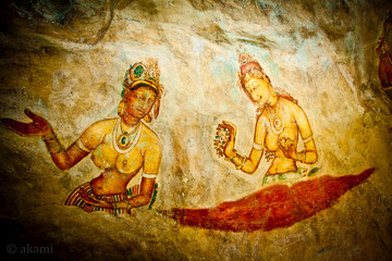 mural painting. preserved traditions of ancient people in the form of wall paintings . Exquisitely and finely painted with figures of women with a curvy shape .