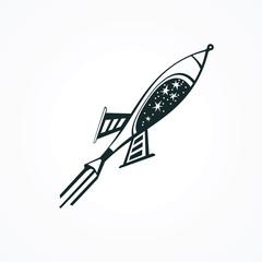 Rocket ship space icon - design element