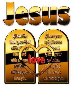 """Two plates of commandments with the name """"Jesus"""""""