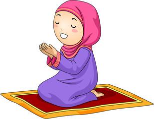 Kid Girl Muslim Pray