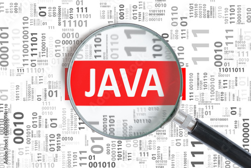 Delightful Software Development Concept. Java Programming Language Inside Magnifying  Glass In Binary Code.