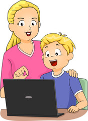 Kid Boy Mom Laptop