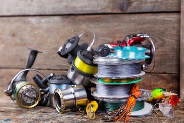 Printed kitchen splashbacks Fishing sport fishing tackles, baits, reels, spool with line