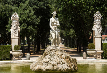 Marble statues in Villa Borghese, public park in Rome. Italy  Italy
