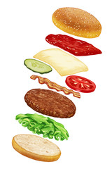 Food set for Cheeseburger. Hand-drawn illustration, digitally colored.