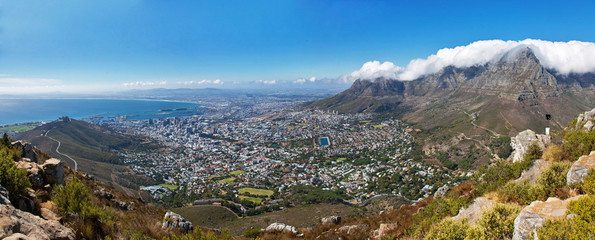 Overall aerial view of Cape Town, South Africa. High resolution panorama