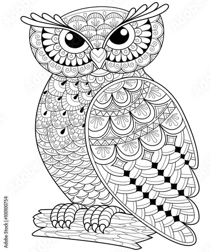 Decorative owl. Adult anti-stress coloring page. Black and white ...