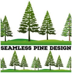 Seamless pine trees on the field