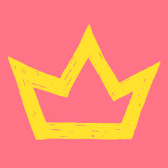 vector illustration of hand drawn yellow crown on pink backgroun