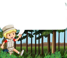 Border design with boy camping out