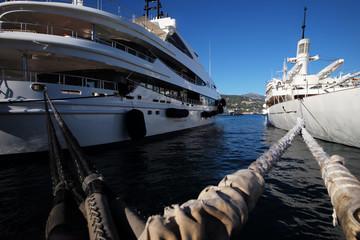 Beautiful modern ships at moorage