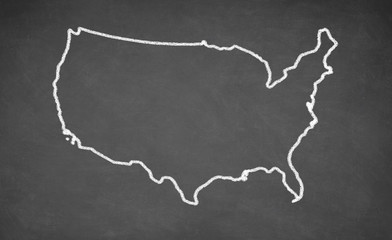 United States map drawn on chalkboard