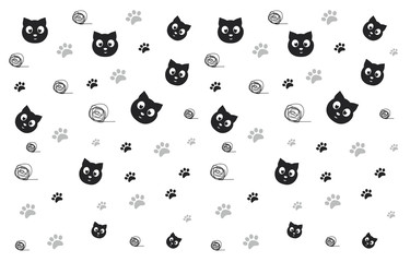pattern with cats, paws and ravel