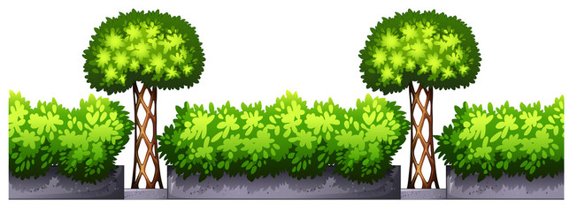 Seamless fence design with bushes