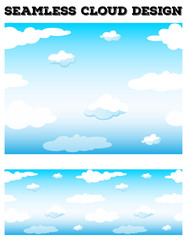 Seamless blue sky with fluffy clouds