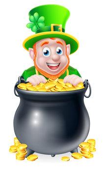 Cartoon Leprechaun and Pot of Gold