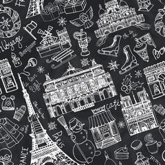 Paris winter,Doodle landmarks seamless pattern.Chalk
