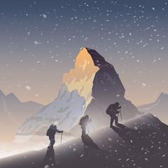 Vector background. Climbing, Trekking, Hiking.