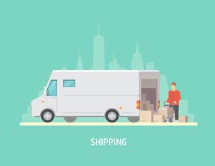 Vector illustration on the theme of Logistics